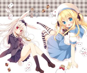 Rating: Safe Score: 75 Tags: animal_ears bunny_ears dress hoshi seifuku tail thighhighs User: HY_Little