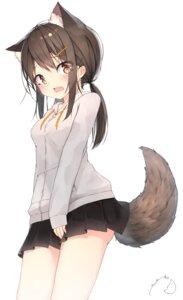 Rating: Safe Score: 42 Tags: animal_ears mayogii skirt_lift tail User: yanis