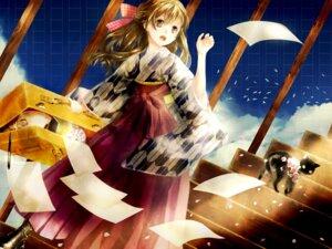 Rating: Safe Score: 19 Tags: ebisu_kana kimono neko wallpaper User: charunetra