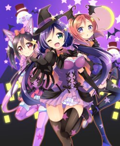 Rating: Safe Score: 55 Tags: animal_ears cleavage cosplay dress halloween heels kurou_(quadruple_zero) love_live! nekomimi nishikino_maki tail thighhighs toujou_nozomi wings witch yazawa_nico User: Mr_GT