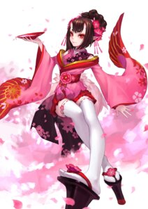 Rating: Safe Score: 56 Tags: horns kimono onmyouji pointy_ears sake thighhighs zengxianxin User: Mr_GT