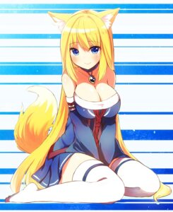 Rating: Questionable Score: 60 Tags: animal_ears cleavage kitsune naomi_(sekai_no_hate_no_kissaten) tail thighhighs User: KazukiNanako