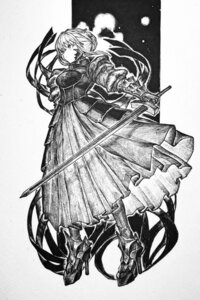 Rating: Safe Score: 4 Tags: armor fate/grand_order heels monochrome saber saber_alter sword tagme User: Radioactive