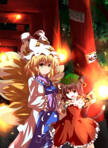 Rating: Safe Score: 17 Tags: animal_ears chen nekomimi nunua tail touhou yakumo_ran User: SciFi