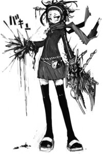 Rating: Safe Score: 6 Tags: continue mecha_musume monochrome thighhighs User: Radioactive