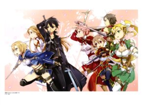 Rating: Safe Score: 35 Tags: abec armor asuna_(sword_art_online) cleavage kirito leafa lisbeth silica sinon sword sword_art_online thighhighs weapon User: drop