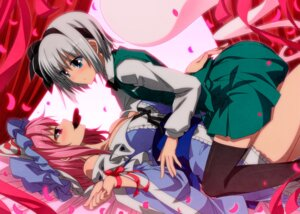 Rating: Questionable Score: 55 Tags: cleavage konpaku_youmu open_shirt saigyouji_yuyuko sazanami_mio thighhighs touhou valentine yuri User: Mr_GT