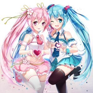 Rating: Safe Score: 64 Tags: hatsune_miku hieihirai sakura_miku thighhighs valentine vocaloid User: Mr_GT