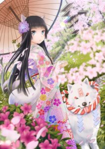 Rating: Safe Score: 45 Tags: animal_ears kimono tail ts_mix umbrella User: Mr_GT