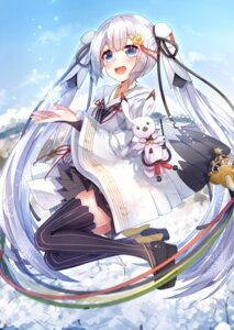 Rating: Questionable Score: 41 Tags: hatsune_miku heels japanese_clothes sll thighhighs vocaloid yuki_miku User: sym455