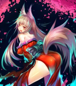Rating: Questionable Score: 49 Tags: animal_ears erect_nipples kitsune kongiku mamuru oboro_muramasa tail User: Riven