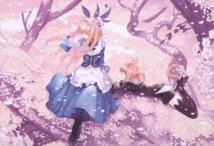 Rating: Safe Score: 54 Tags: alice alice_in_wonderland animal_ears cheshire_cat dress fancy_fantasia lolita_fashion nekomimi tail thighhighs ueda_ryou User: Radioactive