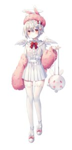 Rating: Safe Score: 5 Tags: animal_ears bunny_ears male pointy_ears shiro_albino thighhighs trap wings User: BattlequeenYume