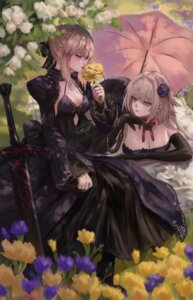Rating: Questionable Score: 18 Tags: dress fate/grand_order gold_can jeanne_d'arc jeanne_d'arc_(alter)_(fate) no_bra saber saber_alter sword umbrella User: BattlequeenYume