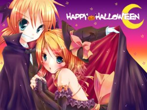 Rating: Safe Score: 18 Tags: dress halloween kagamine_len kagamine_rin meiya_neon vocaloid wallpaper User: charunetra