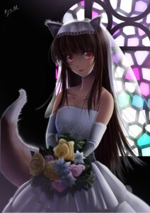Rating: Safe Score: 41 Tags: animal_ears dress holo minazuki_ryou spice_and_wolf tail wedding_dress User: Eruru