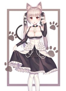 Rating: Safe Score: 30 Tags: animal_ears azur_lane formidable_(azur_lane) gothic_lolita lolita_fashion nekomimi no_bra shiro_(acad1213) skirt_lift tail User: Mr_GT