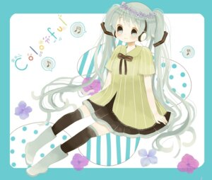 Rating: Safe Score: 5 Tags: hatsune_miku headphones roromi thighhighs vocaloid User: Radioactive