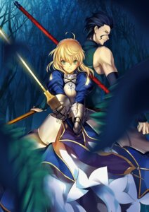 Rating: Safe Score: 18 Tags: armor fate/stay_night fate/zero king.c lancer_(fate/zero) saber sword weapon User: 23yAyuMe