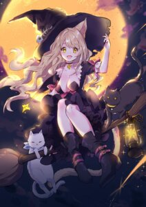 Rating: Safe Score: 66 Tags: animal_ears cleavage dress halloween heels neko nekomimi tail witch yuzhi User: Mr_GT