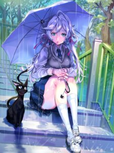 Rating: Safe Score: 65 Tags: furyou_michi_~gang_road~ imp neko seifuku umbrella wet_clothes User: blooregardo