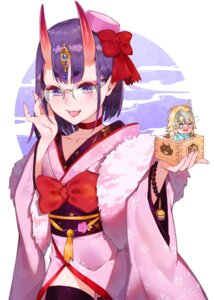 Rating: Safe Score: 25 Tags: chibi fate/grand_order horns japanese_clothes megane pointy_ears shuten_douji_(fate/grand_order) thighhighs waterring User: RyuZU
