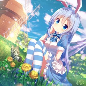 Rating: Safe Score: 94 Tags: animal_ears bunny_ears chinomaron dress gochuumon_wa_usagi_desu_ka? kafuu_chino thighhighs User: Mr_GT