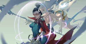 Rating: Safe Score: 18 Tags: bodysuit cleavage janna_windforce league_of_legends megane pointy_ears shauna_vayne tagme weapon User: charunetra
