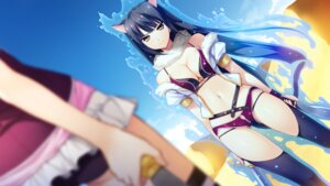 Rating: Safe Score: 73 Tags: aioh_lioh_camylia animal_ears bikini cleavage curio_vita_wallroy front_wing fumio game_cg hatsuru_koto_naki_mirai_yori jpeg_only nekomimi open_shirt swimsuits sword tail thighhighs weapon User: YamatoBomber