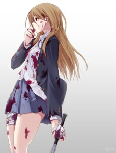 Rating: Questionable Score: 42 Tags: bandages blood k-on! seifuku tachibana_himeko weapon User: saemonnokami