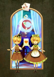 Rating: Safe Score: 3 Tags: hitobashira_alice_(vocaloid) kagamine_len kagamine_rin red13 vocaloid User: Radioactive