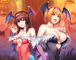 Rating: Questionable Score: 34 Tags: alice_margatroid cleavage cosplay dark_stalkers leotard lilith_aensland morrigan_aensland no_bra pantyhose tarumo touhou wings User: Spidey