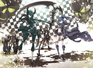 Rating: Safe Score: 26 Tags: bikini_top black_gold_saw black_rock_shooter black_rock_shooter_(character) dead_master horns strength sword vocaloid yamanami_kousuke User: cattypkung