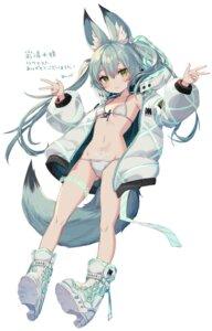 Rating: Questionable Score: 48 Tags: animal_ears bikini garter heels open_shirt swimsuits tail tattoo yu-ri User: Mr_GT