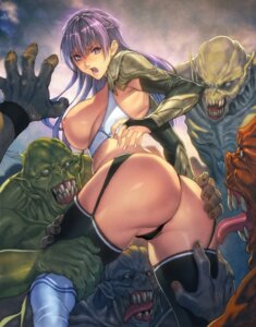 Rating: Questionable Score: 76 Tags: armor ass breasts homare monster nipples no_bra pantsu stockings thighhighs User: Mr_GT