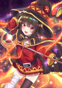 Rating: Safe Score: 24 Tags: bandages dress kono_subarashii_sekai_ni_shukufuku_wo! megumin reinakocchi skirt_lift thighhighs weapon witch User: Mr_GT