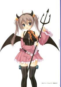 Rating: Safe Score: 36 Tags: horns kobuichi sanoba_witch shiiba_tsumugi thighhighs weapon wings yuzu-soft User: Twinsenzw