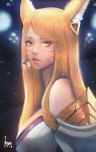 Rating: Safe Score: 6 Tags: ahri animal_ears armor autographed league_of_legends seuyan User: charunetra