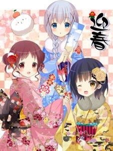 Rating: Safe Score: 46 Tags: gochuumon_wa_usagi_desu_ka? jouga_maya kafuu_chino kimono natsu_megumi ryoutan tippy_(gochuumon_wa_usagi_desu_ka?) User: Mr_GT