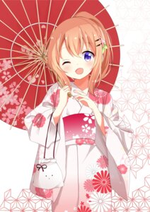 Rating: Safe Score: 38 Tags: gochuumon_wa_usagi_desu_ka? hoto_cocoa kimono kousaka_nobaku umbrella User: sym455