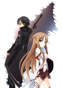 Rating: Safe Score: 27 Tags: asuna_(sword_art_online) kirito sword sword_art_online thighhighs User: charunetra
