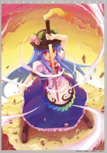 Rating: Safe Score: 15 Tags: hinanawi_tenshi minamura_halki sword touhou twinklesnows User: midzki