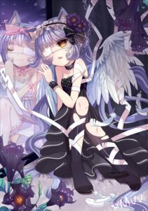 Rating: Safe Score: 20 Tags: animal_ears dress eyepatch mvv nekomimi thighhighs torn_clothes wings User: charunetra