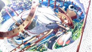 Rating: Safe Score: 33 Tags: moriya_suwako sword thighhighs touhou ugume User: Mr_GT