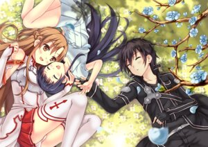 Rating: Questionable Score: 32 Tags: asuna_(sword_art_online) kirito pantsu peach sword_art_online thighhighs yui_(sword_art_online) User: fairyren