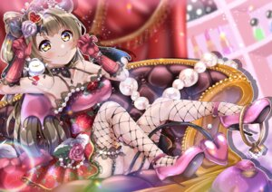 Rating: Safe Score: 7 Tags: cleavage dress fishnets heels horns love_live! minami_kotori panda_copt skirt_lift stockings tail thighhighs User: BattlequeenYume