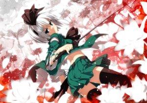 Rating: Safe Score: 63 Tags: konpaku_youmu sazanami_mio sword thighhighs touhou User: hobbito