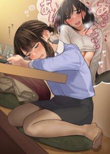 Rating: Questionable Score: 45 Tags: ganbare_douki-chan no_bra pantyhose sake shirt_lift underboob yom User: yanis