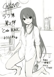 Rating: Questionable Score: 23 Tags: coffee-kizoku dress_shirt monochrome pantsu shiramine_rika sketch User: drop