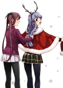 Rating: Questionable Score: 34 Tags: animal_ears asagumo_(kancolle) christmas fujikawa horns kantai_collection pantyhose sweater yamagumo_(kancolle) User: drop